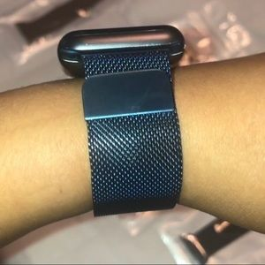 """Uniform Blue"" Milanese Loop Apple Watch Band"